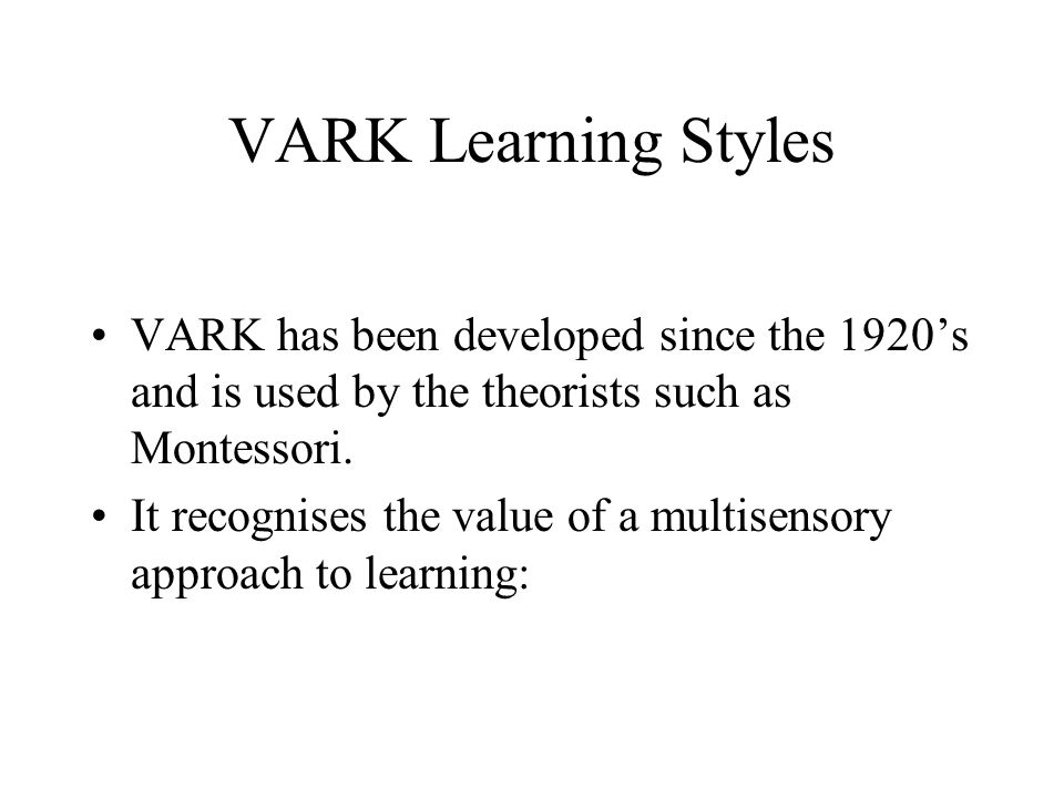 vark educational psychology and learning styles Discovering your learning style can help you study better adult learning styles: how the vark learning style inventory can digital copywriter for gcu blogs.