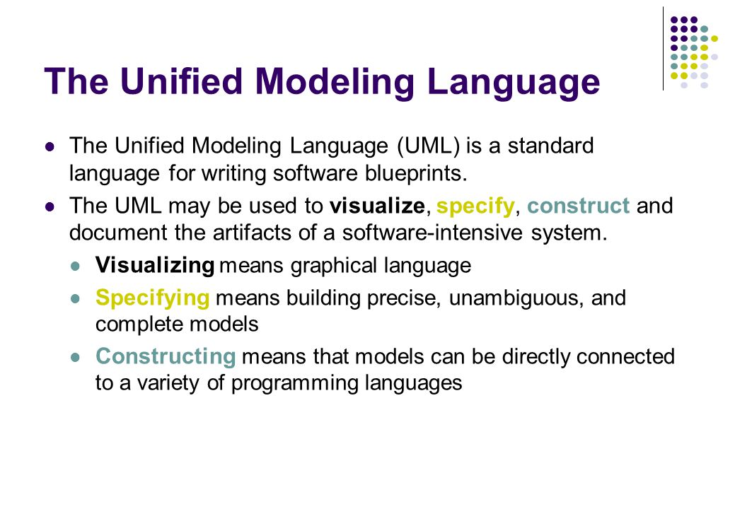 unified modeling language an introductionoverview essay Uml (unified modeling language) the unified modeling language is a standard language for specifying, visualizing, constructing, and documenting the artifacts of.