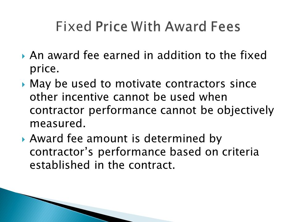 Introductory to the basics of contract types and their for Fixed price construction contract