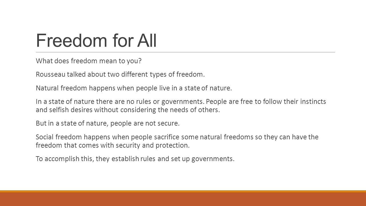 Different kinds of freedom