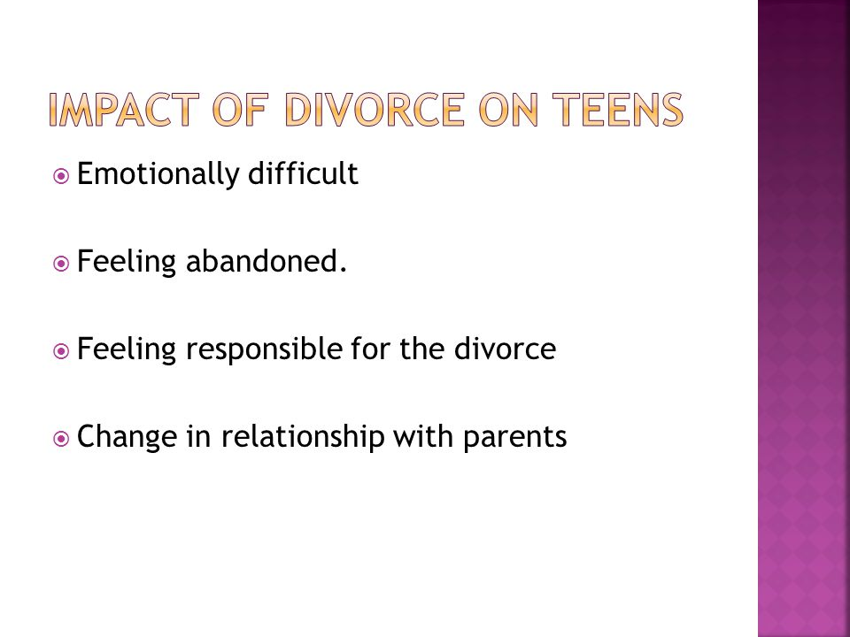 effect of parental separation on adolescence Separation and attachment to parents 163 dren's perceptions of the quality of parent–child relations in adolescence attachment and adolescence attachment refers to the emotional bond that de.