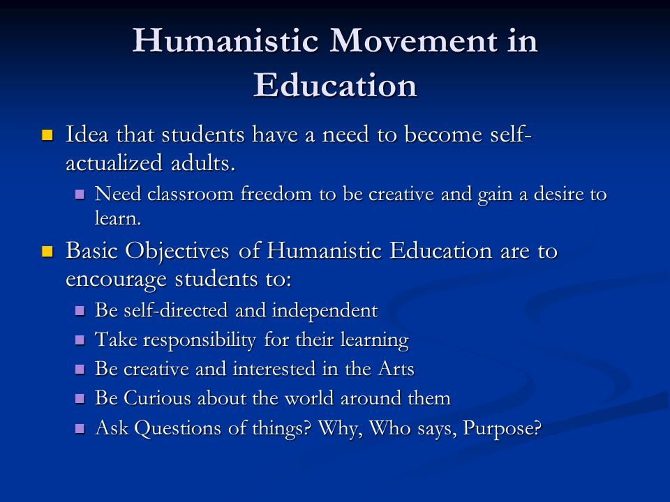 Humanistic Movement in Education