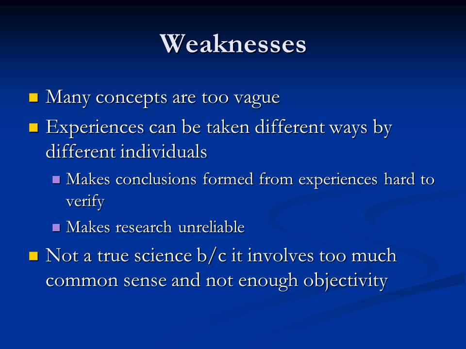 Weaknesses Many concepts are too vague
