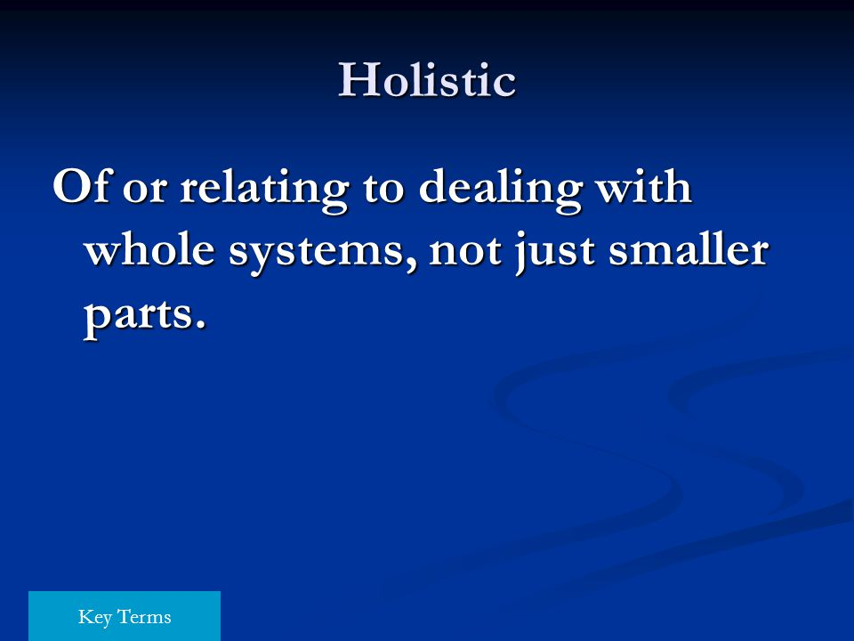 Of or relating to dealing with whole systems, not just smaller parts.