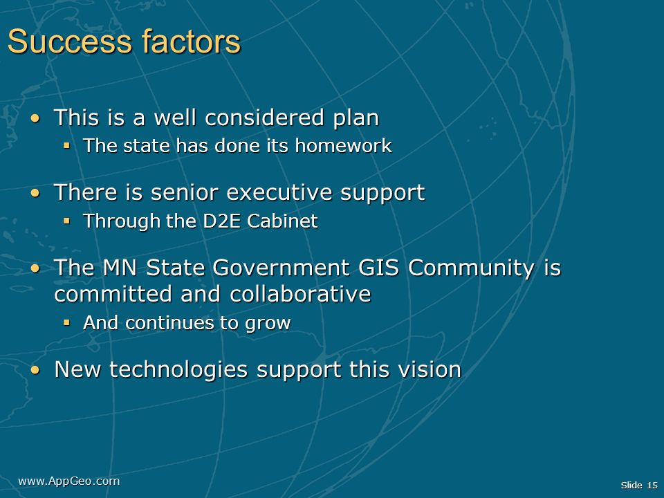 Success factors This is a well considered plan