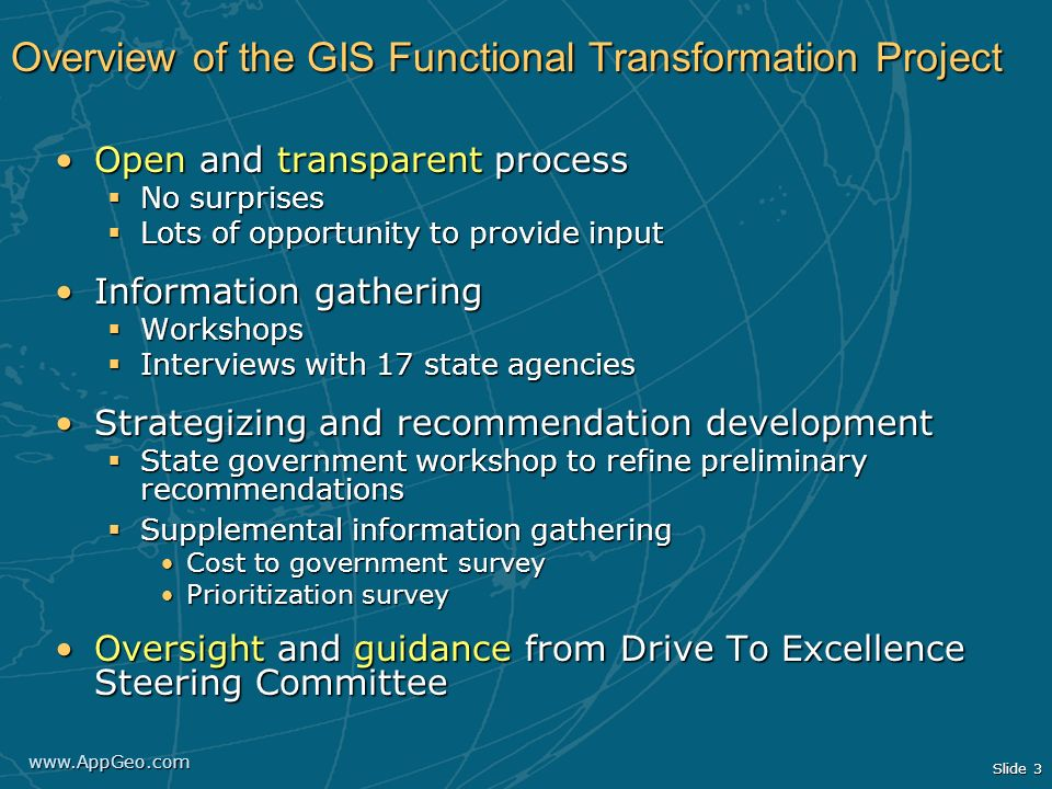 Overview of the GIS Functional Transformation Project