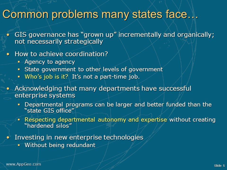 Common problems many states face…
