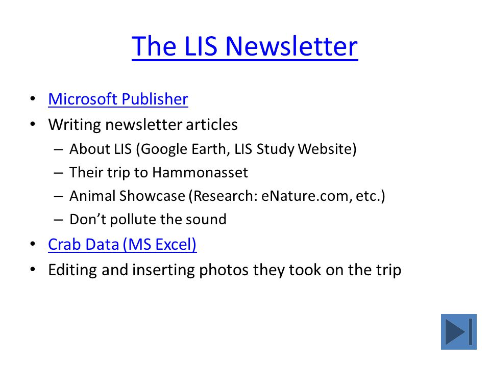 The LIS Newsletter Microsoft Publisher Writing newsletter articles