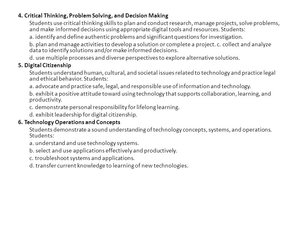 4. Critical Thinking, Problem Solving, and Decision Making