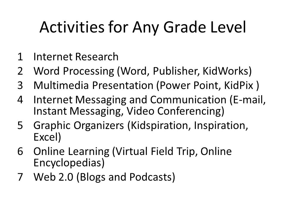 Activities for Any Grade Level