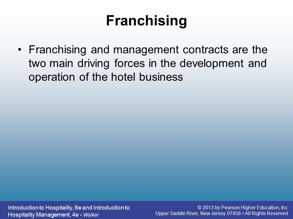 franchising in hospitality industry commerce essay Hospitality industry is a service industry, whether it is entertainment, or art, or theatre, or retailing, or whether it is no more than another form of business (gillespie 1994, jayawardena 2000, slattery 2002, hemmington 2004.
