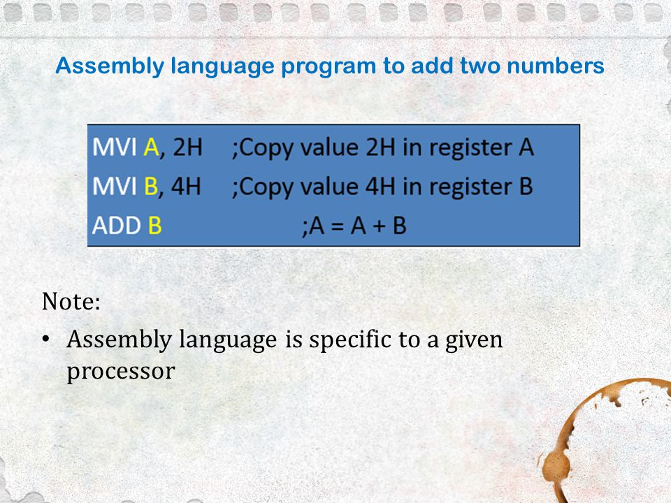write an assembly language program for addition of two 8 bit numbers