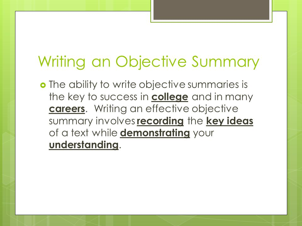2 Writing An Objective Summary  How To Write An Objective