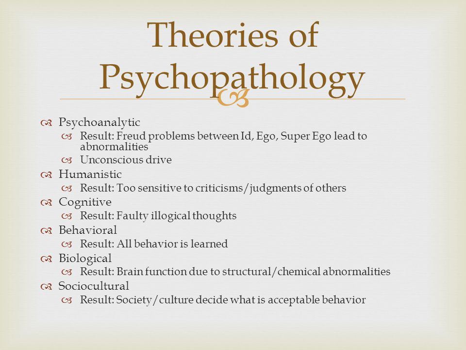 psychopathology abnormal psychology and cognitive behavioral Lecture 16 models of psychopathology lecture outline i introduction ii  a  philosophical view that complex phenomena (such as thoughts, behaviors,  emotions)  that involve psychological processes for example: cognitive and  social levels.