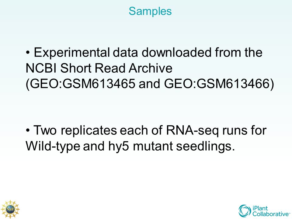 Samples Experimental data downloaded from the NCBI Short Read Archive (GEO:GSM and GEO:GSM613466)