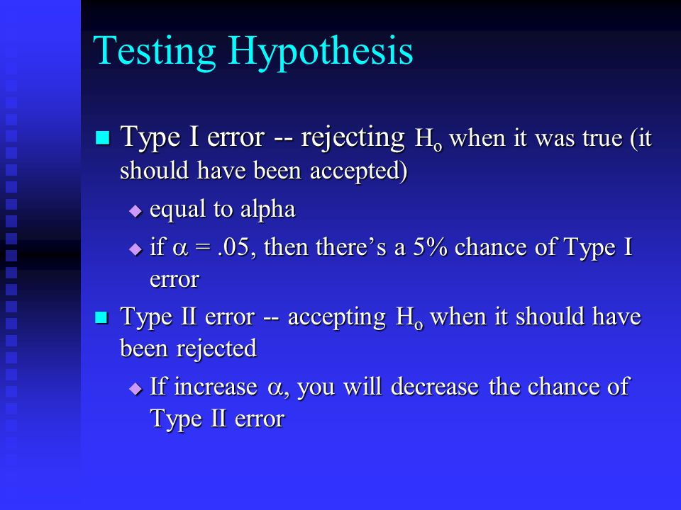 Testing Hypothesis Type I error -- rejecting Ho when it was true (it should have been accepted) equal to alpha.