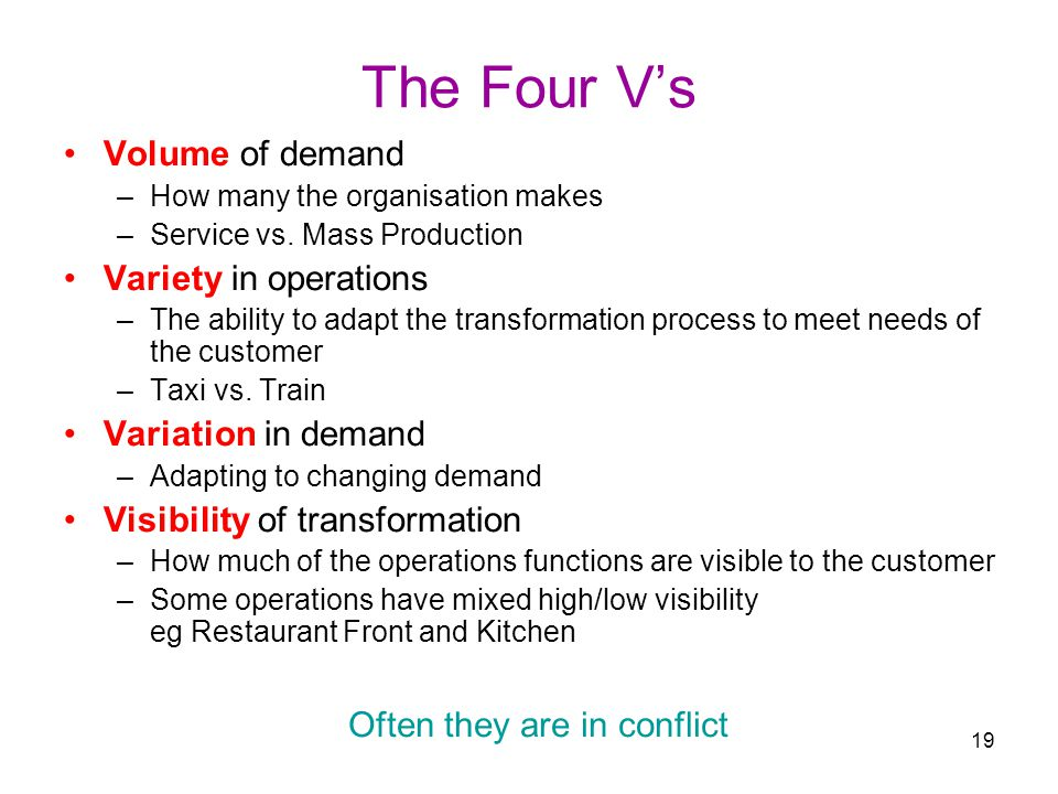 the four vs of operation management 2 quality managementthe main concern in this strategic decision area of operations management is the satisfaction of quality expectations ford motor company does so through standard quality assurance practices.