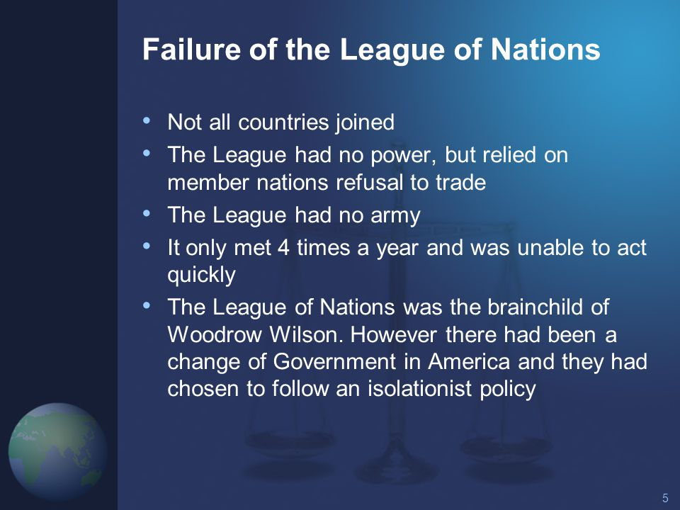 the failure of the league of nations Causes of failure of league of nations league of nations was created after wwi and was first comprehensive organization which came into existence on jan10 1920  with hopes that this organization may.
