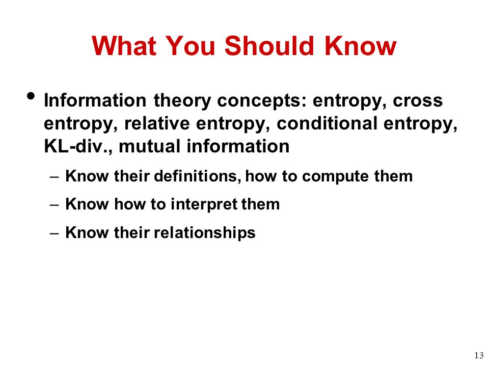 Basic concepts in information theory ppt download for Div relative