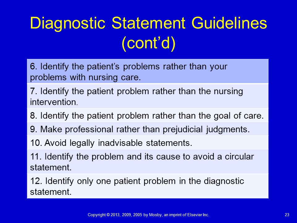 Diagnostic Statement Guidelines (cont'd)