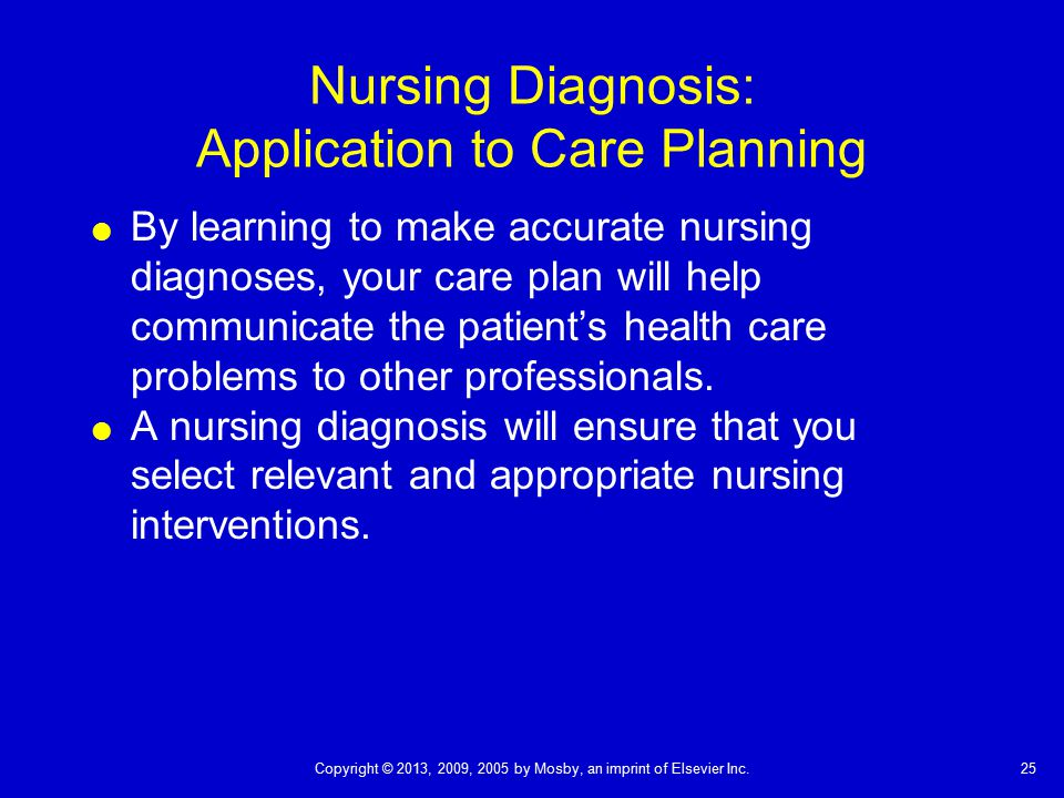 Nursing Diagnosis: Application to Care Planning