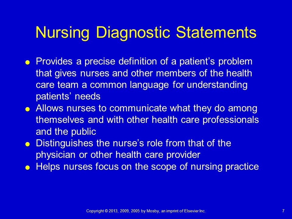 Nursing Diagnostic Statements