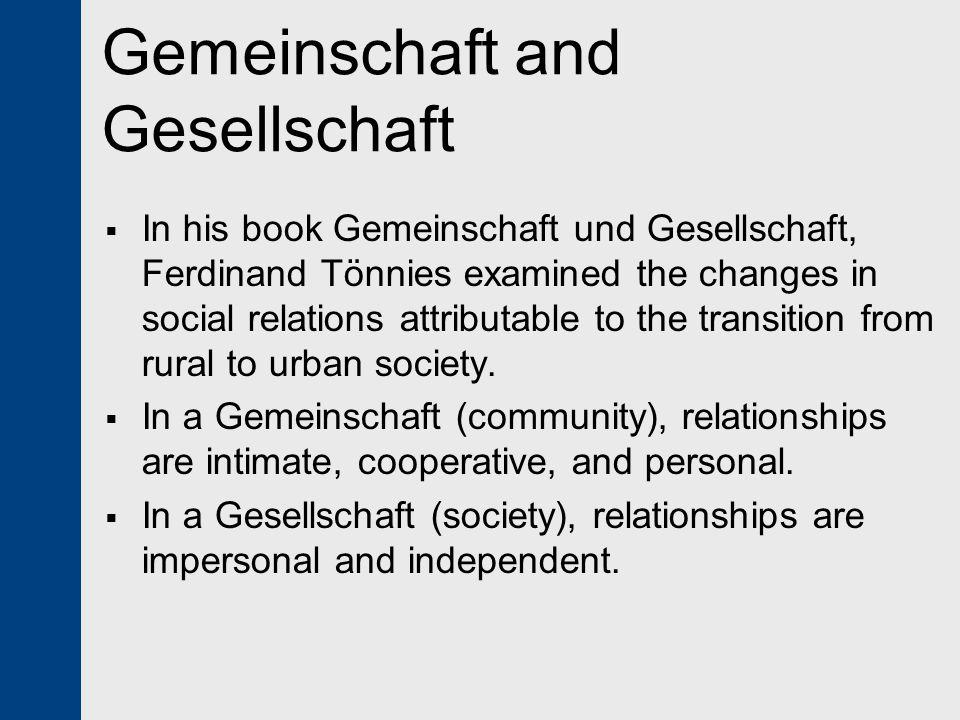 Gemeinschaft and Gesellschaft
