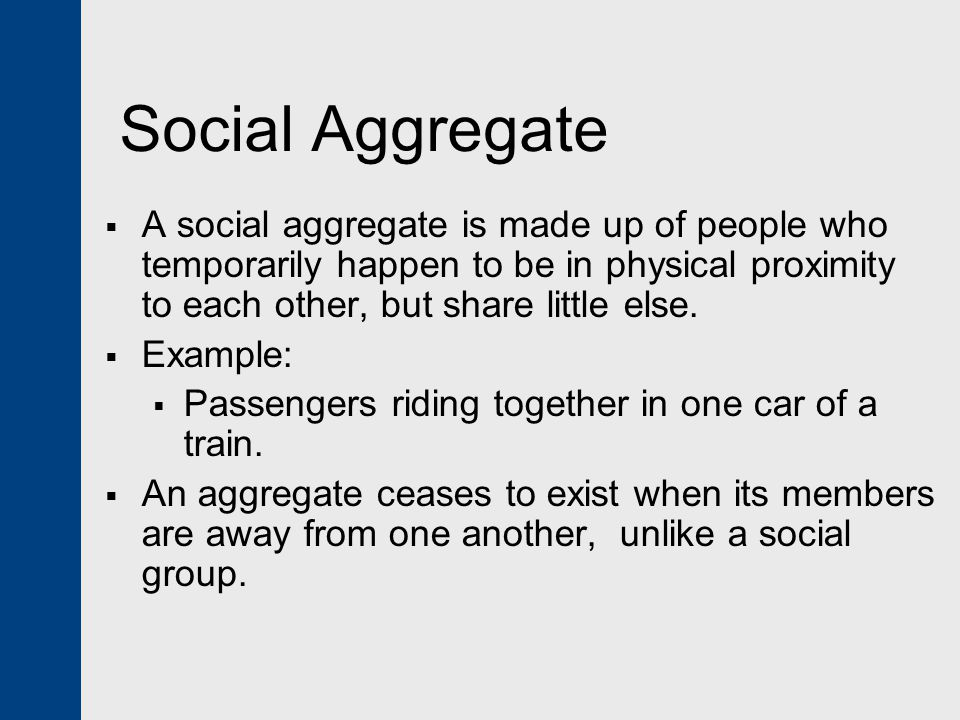 Social Aggregate A social aggregate is made up of people who temporarily happen to be in physical proximity to each other, but share little else.