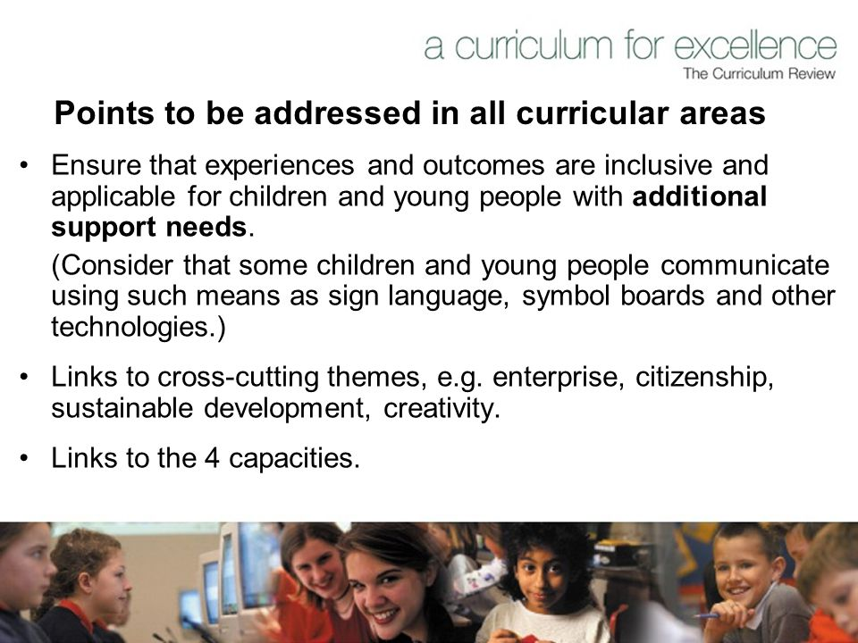 Points to be addressed in all curricular areas