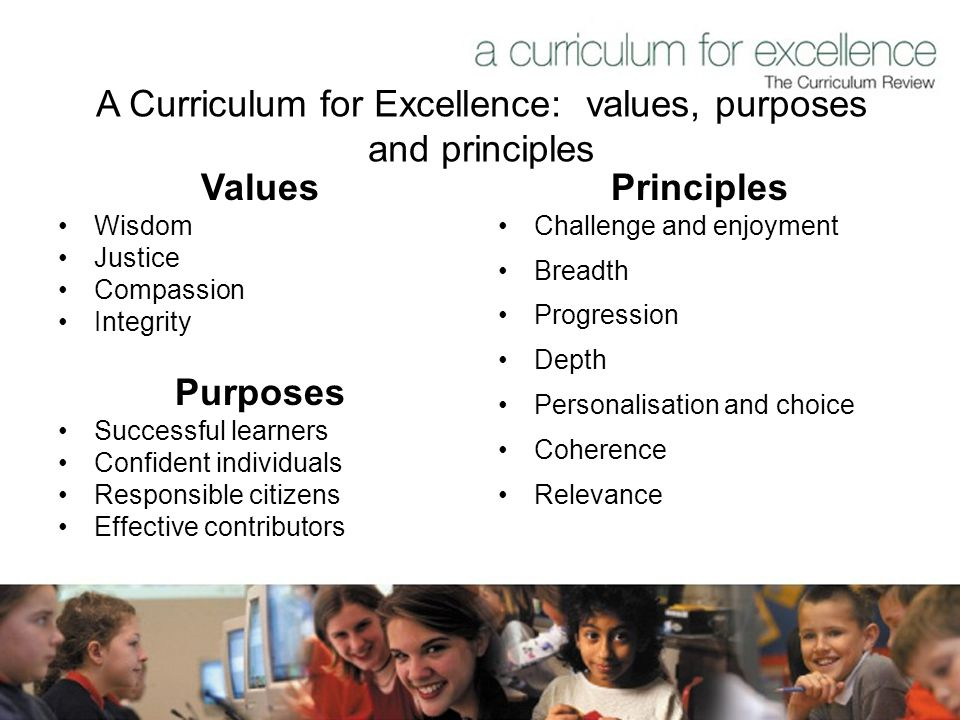A Curriculum for Excellence: values, purposes and principles