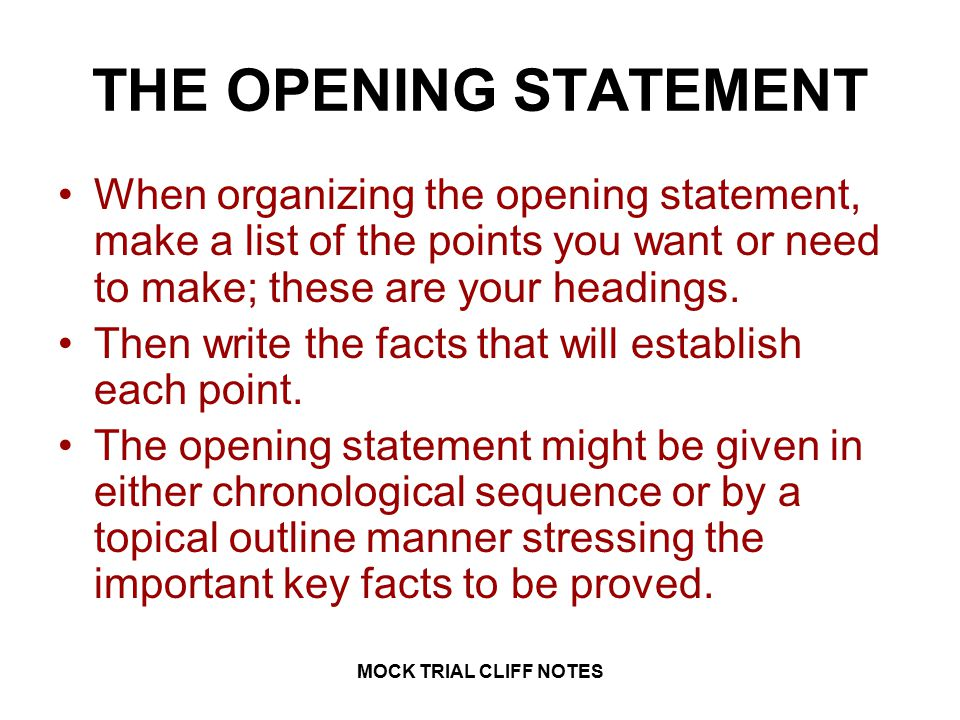 "opening statement doc Sample script for opening and closing your presentation here is a sample script for use in planning your opening remarks: ""good evening my name is (name) and this."