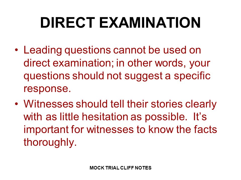 LAW 1 MOCK TRIAL CLIFF NOTES MOCK TRIAL CLIFF NOTES.