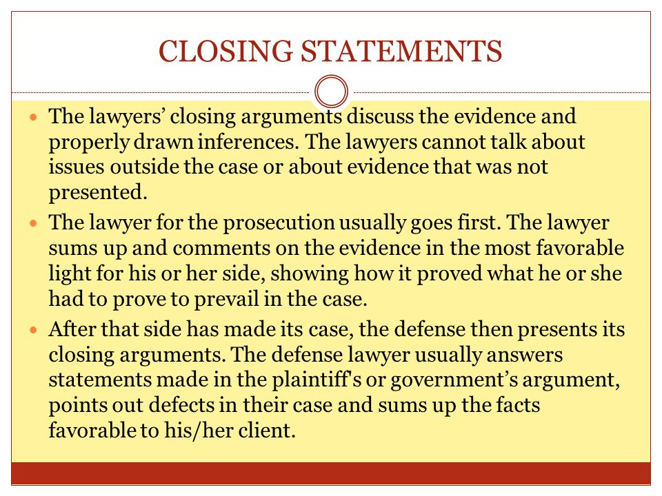 How To Write A Closing Statement For Mock Trial Prosecution