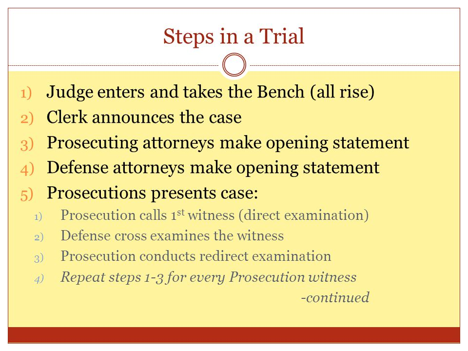 steps in a trial