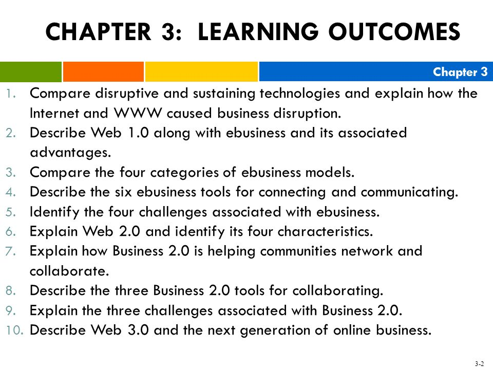 CHAPTER 3: LEARNING OUTCOMES