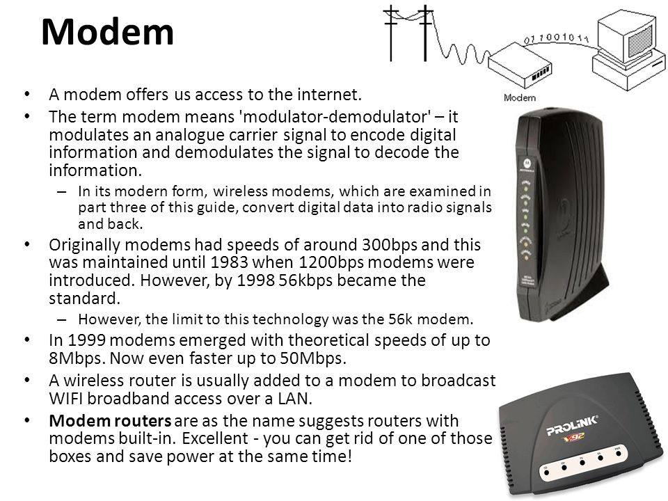 Modem A modem offers us access to the internet.