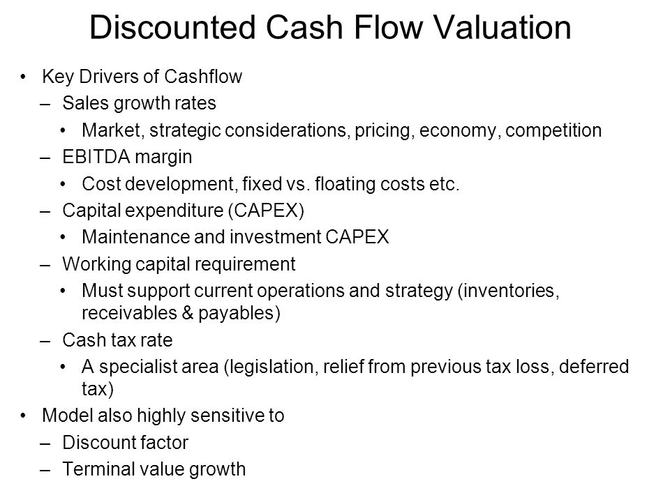 Valuation using discounted cash flows