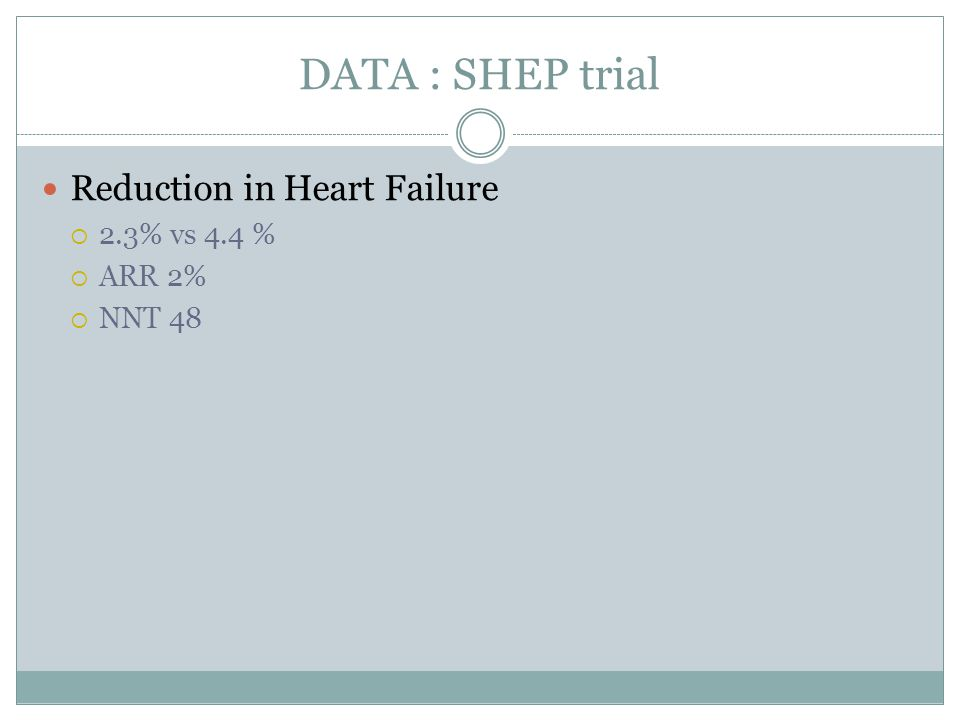 DATA : SHEP trial Reduction in Heart Failure 2.3% vs 4.4 % ARR 2%