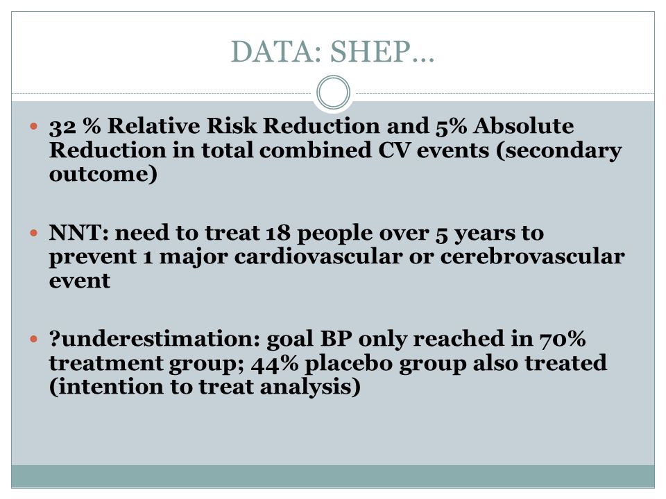 DATA: SHEP… 32 % Relative Risk Reduction and 5% Absolute Reduction in total combined CV events (secondary outcome)