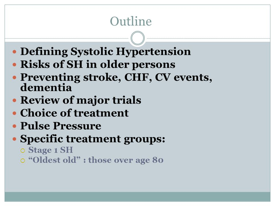 Outline Defining Systolic Hypertension Risks of SH in older persons