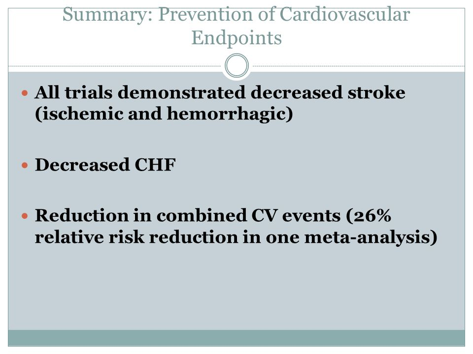 Summary: Prevention of Cardiovascular Endpoints
