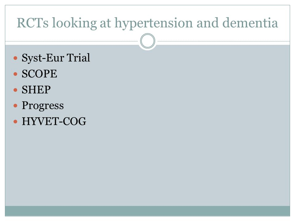 RCTs looking at hypertension and dementia