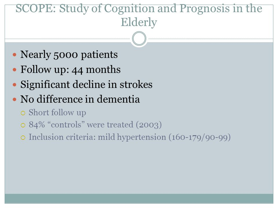 SCOPE: Study of Cognition and Prognosis in the Elderly
