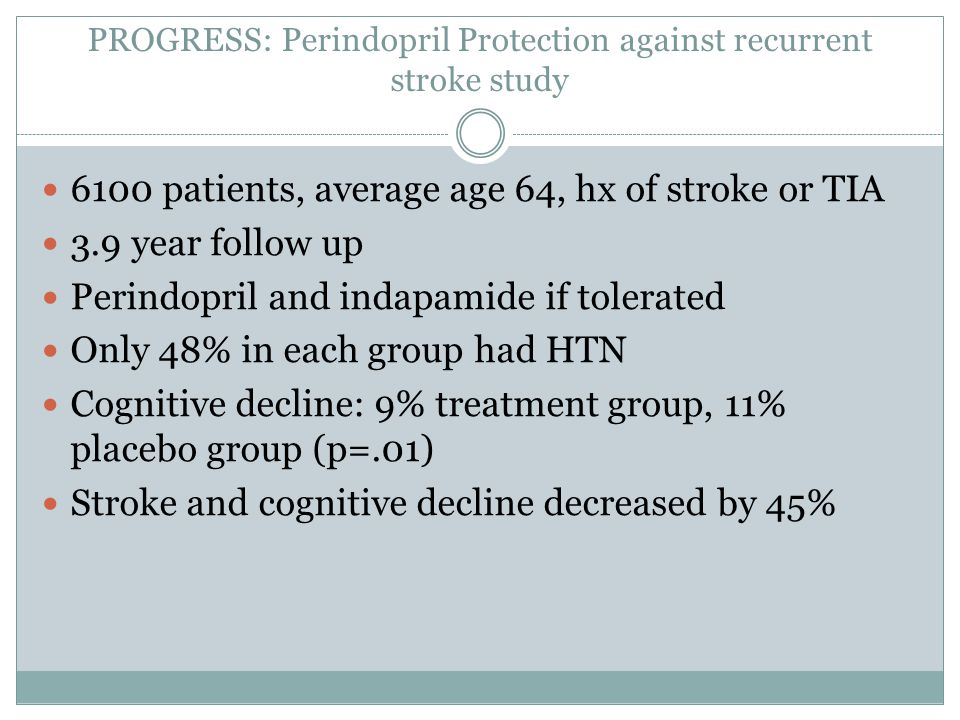 PROGRESS: Perindopril Protection against recurrent stroke study