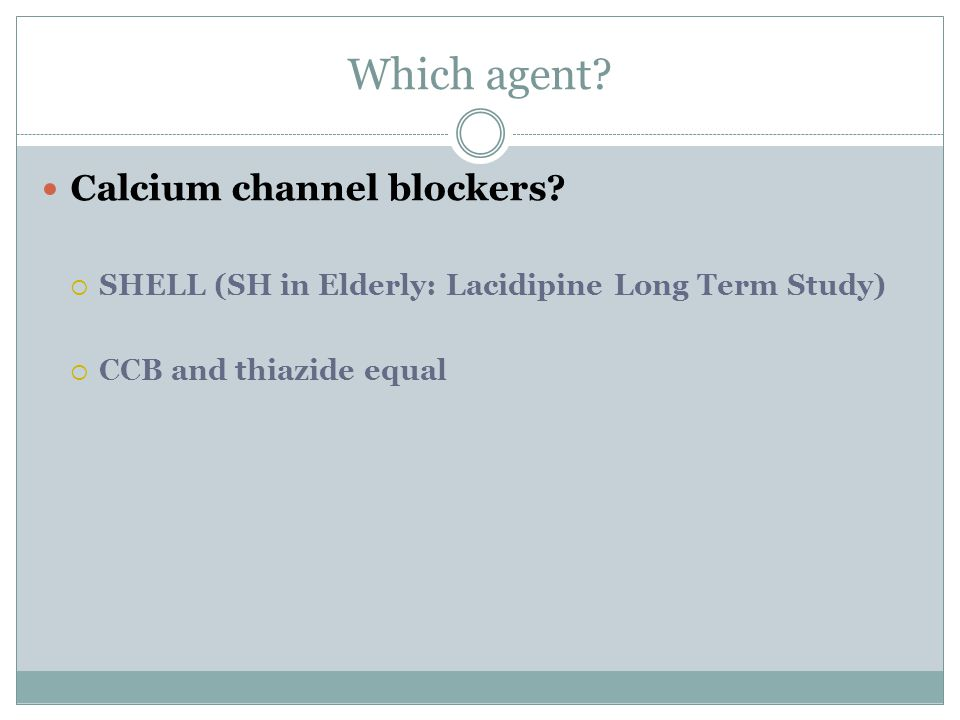 Which agent Calcium channel blockers