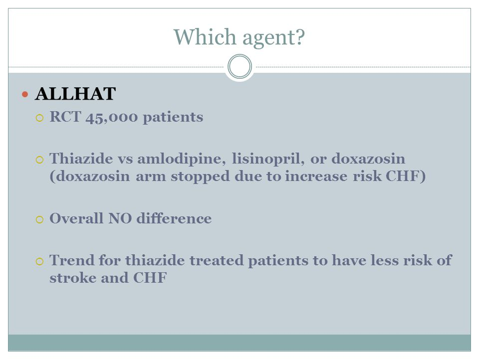 Which agent ALLHAT RCT 45,000 patients