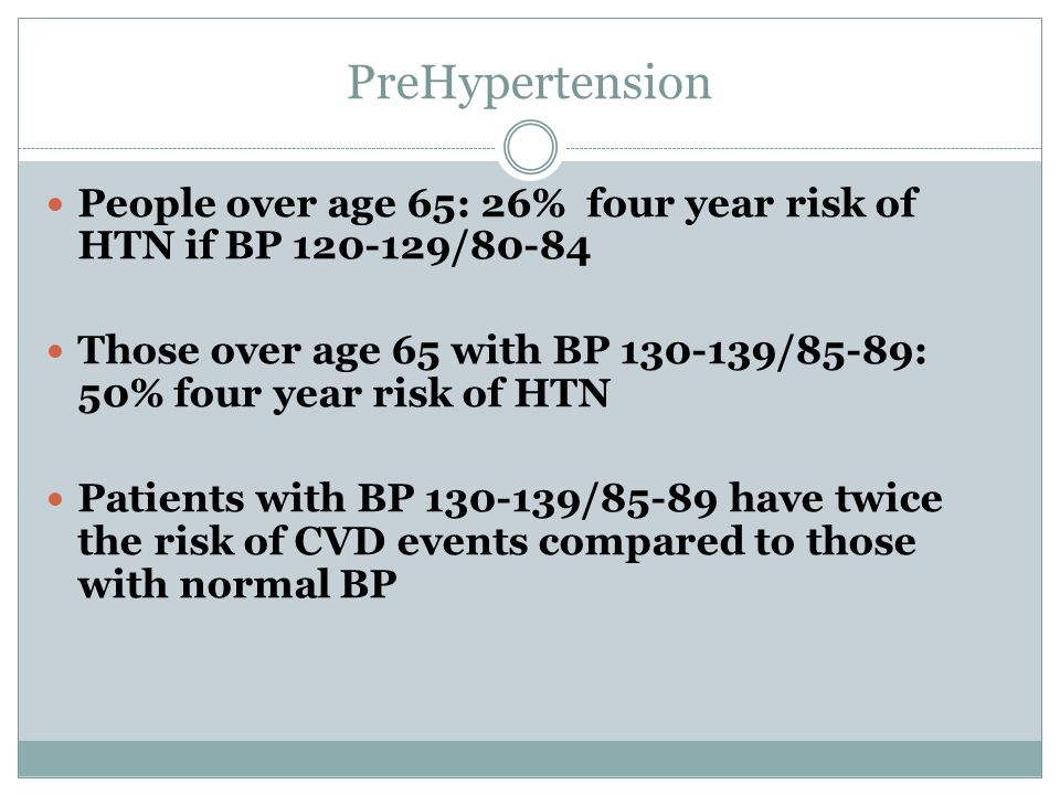 PreHypertension People over age 65: 26% four year risk of HTN if BP /