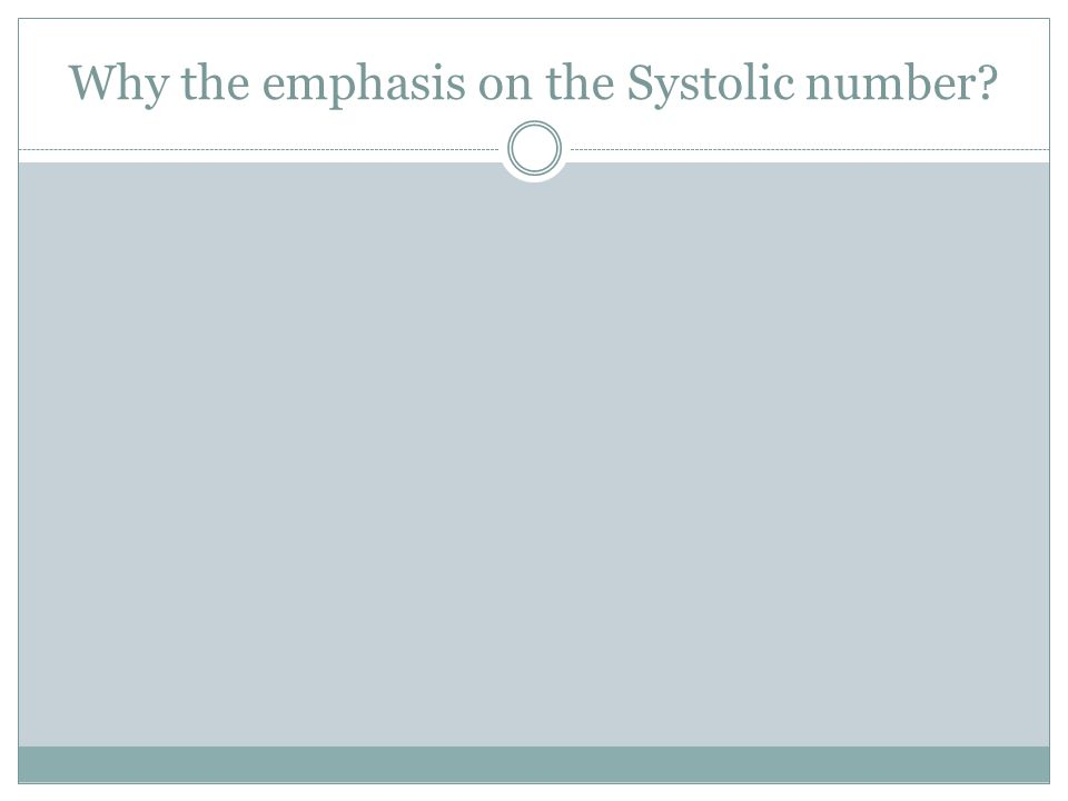 Why the emphasis on the Systolic number