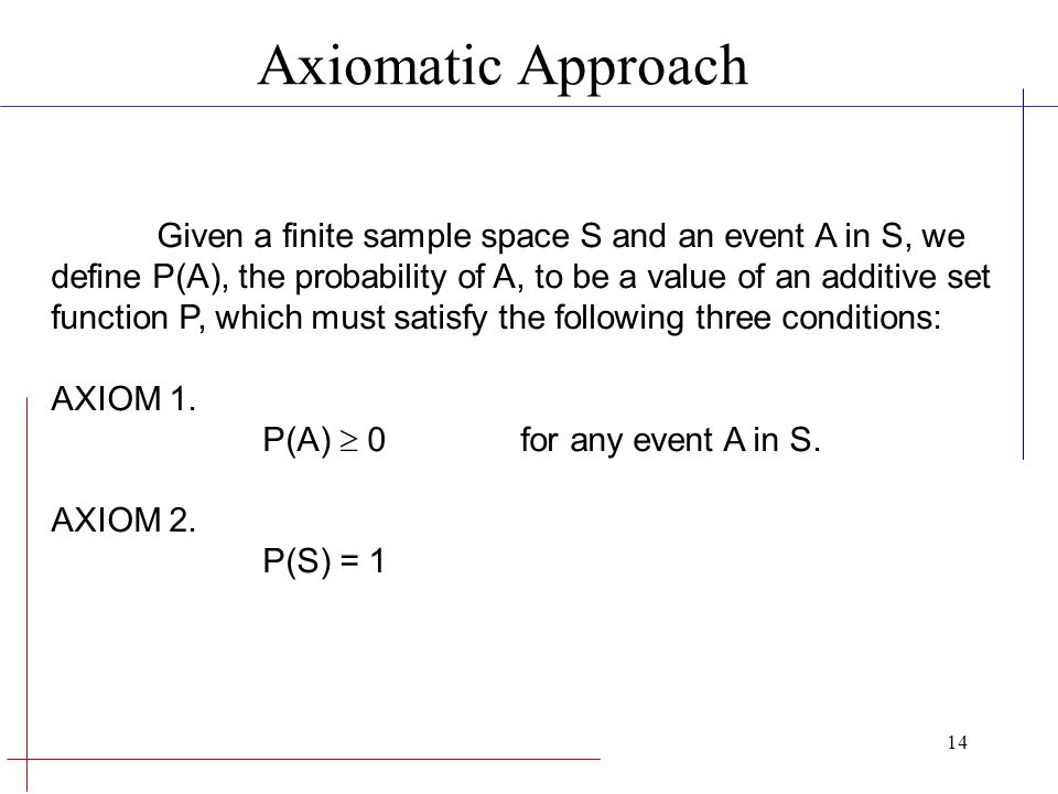 Axiomatic Approach Given a finite sample space S and an event A in S, we. define P(A), the probability of A, to be a value of an additive set.
