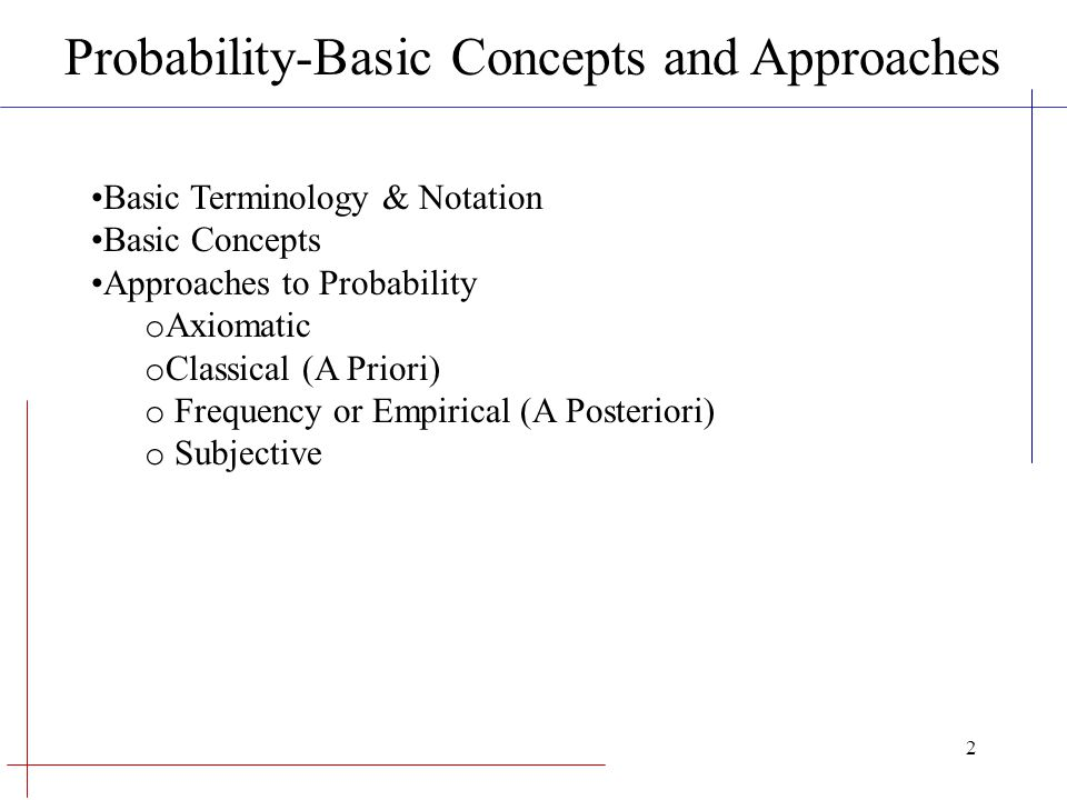 Probability-Basic Concepts and Approaches